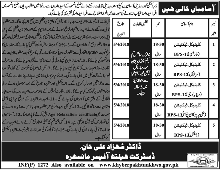 Jobs in Health Department Mansehra 16 March 2018