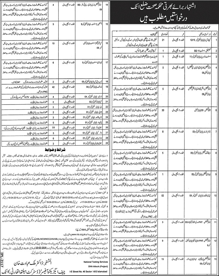 Jobs In Health Department Of District Attock 23 Feb 2018