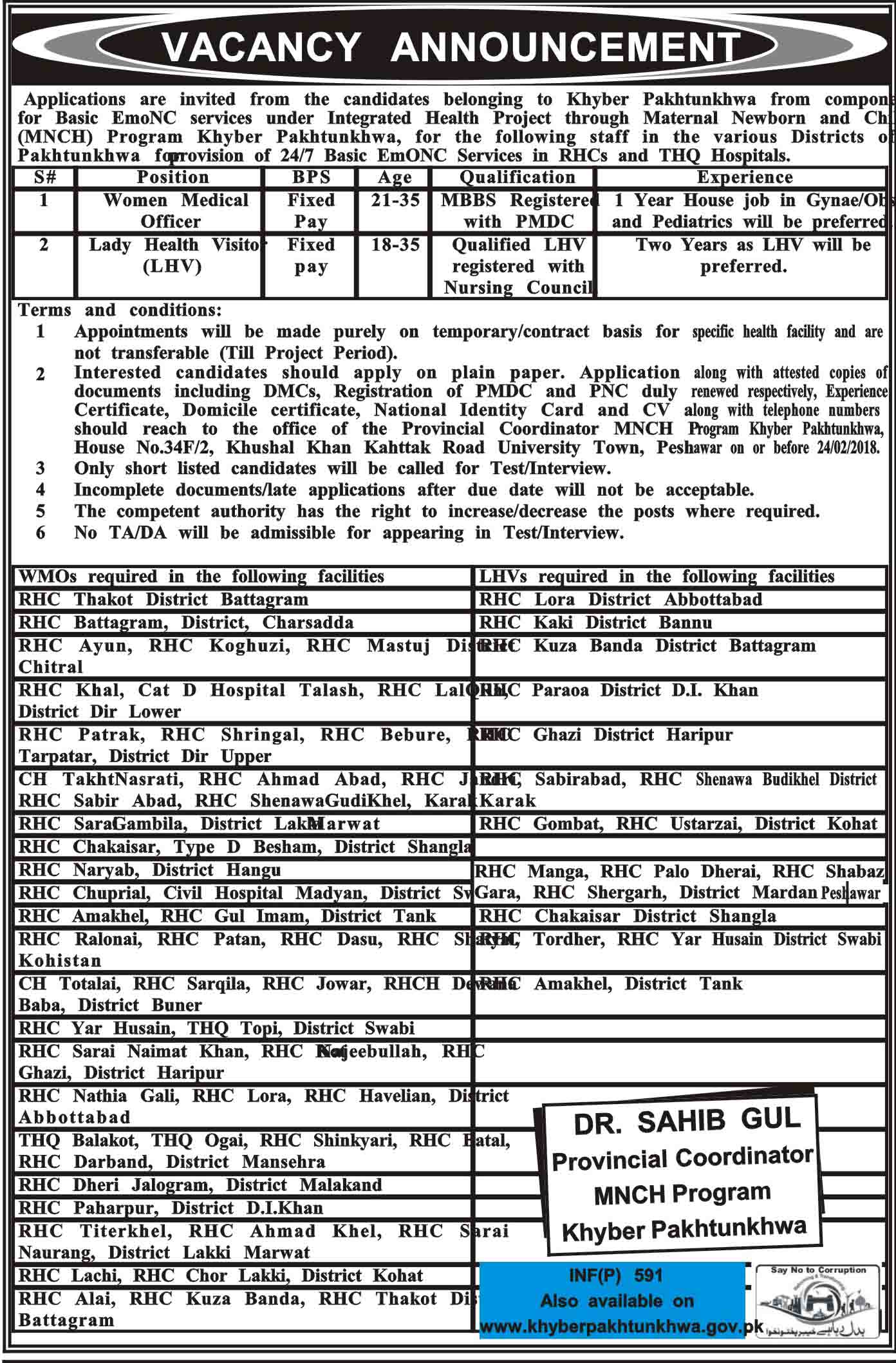 Jobs In Health Department Of Khyber Pakhtunkhawa 06 Feb 2018