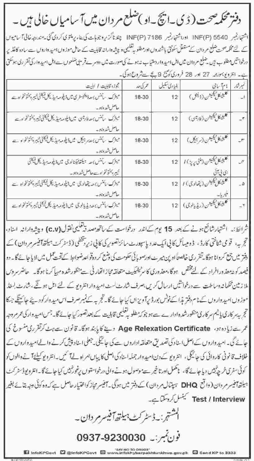 Jobs In Health Department Of Khyber Pakhtunkhawa 22 Jan 2018