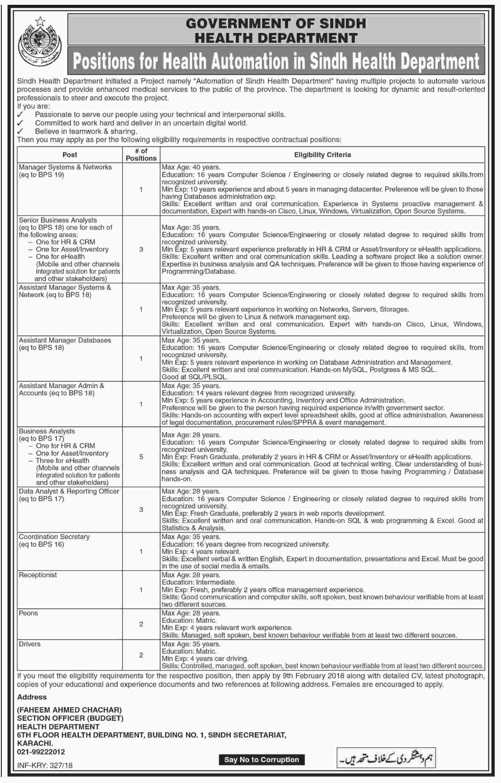 Jobs In Health Department Of Sindh 20 Jan 2018