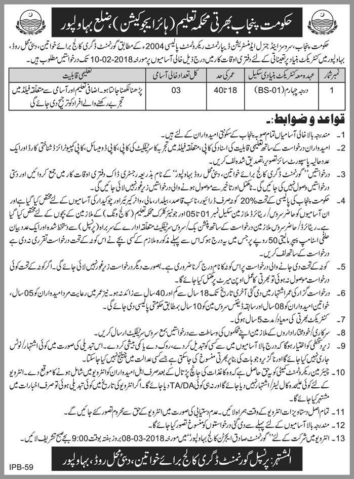 Jobs In Higher Education Govt. Of Punjab 18 Jan 2018