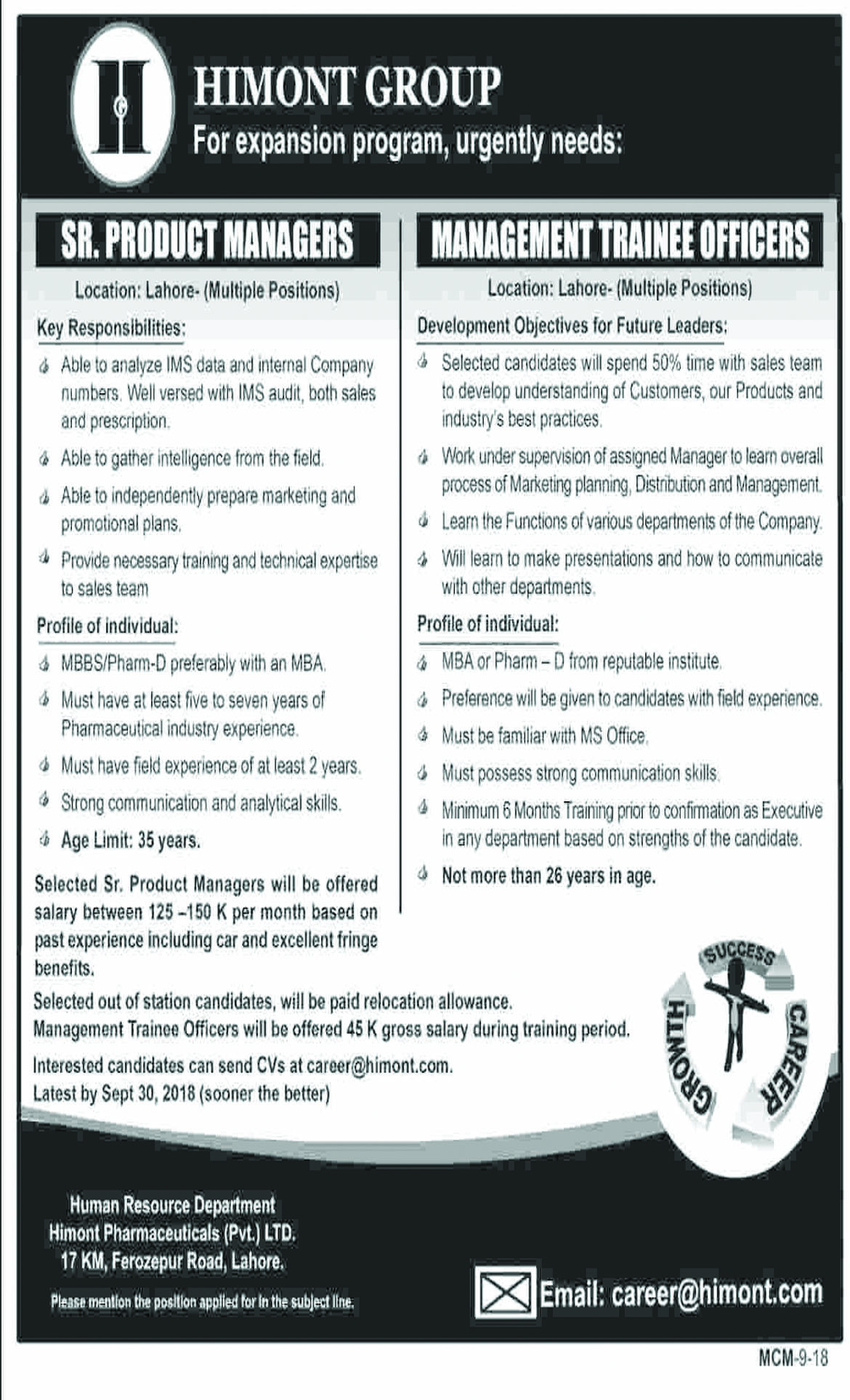 Jobs In Himont Pharmaceutical Pvt Limited 17 Sep 2018