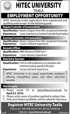 Jobs in HITEC University Taxila 09 April 2018