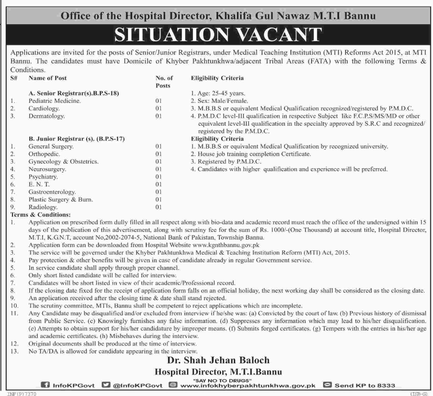 Jobs In Hospital Of Bannu 05 Jan 2018