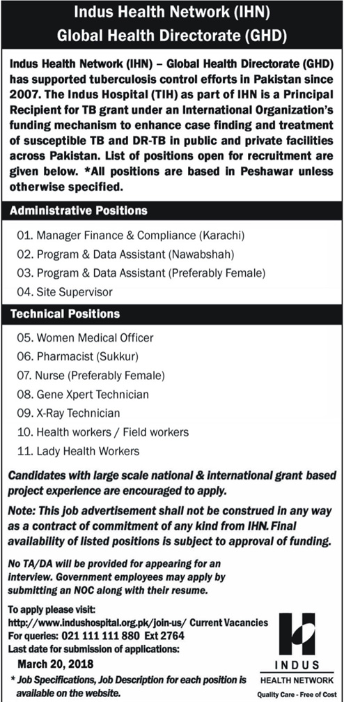 Jobs in Indus Health Network 11 March 2018