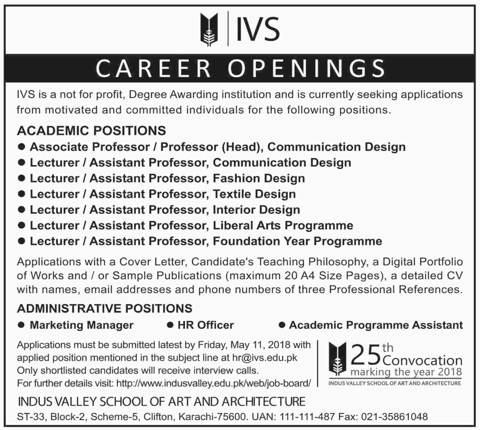 Jobs in Indus Valley School of Art and Architecture 22 April 2018
