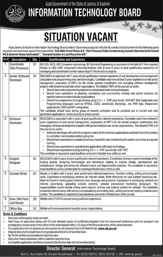Jobs in Information Technology Board 07 March 2018