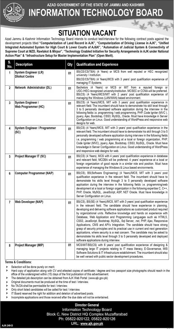 Jobs  In Information Technology Board 16 Jan 2018