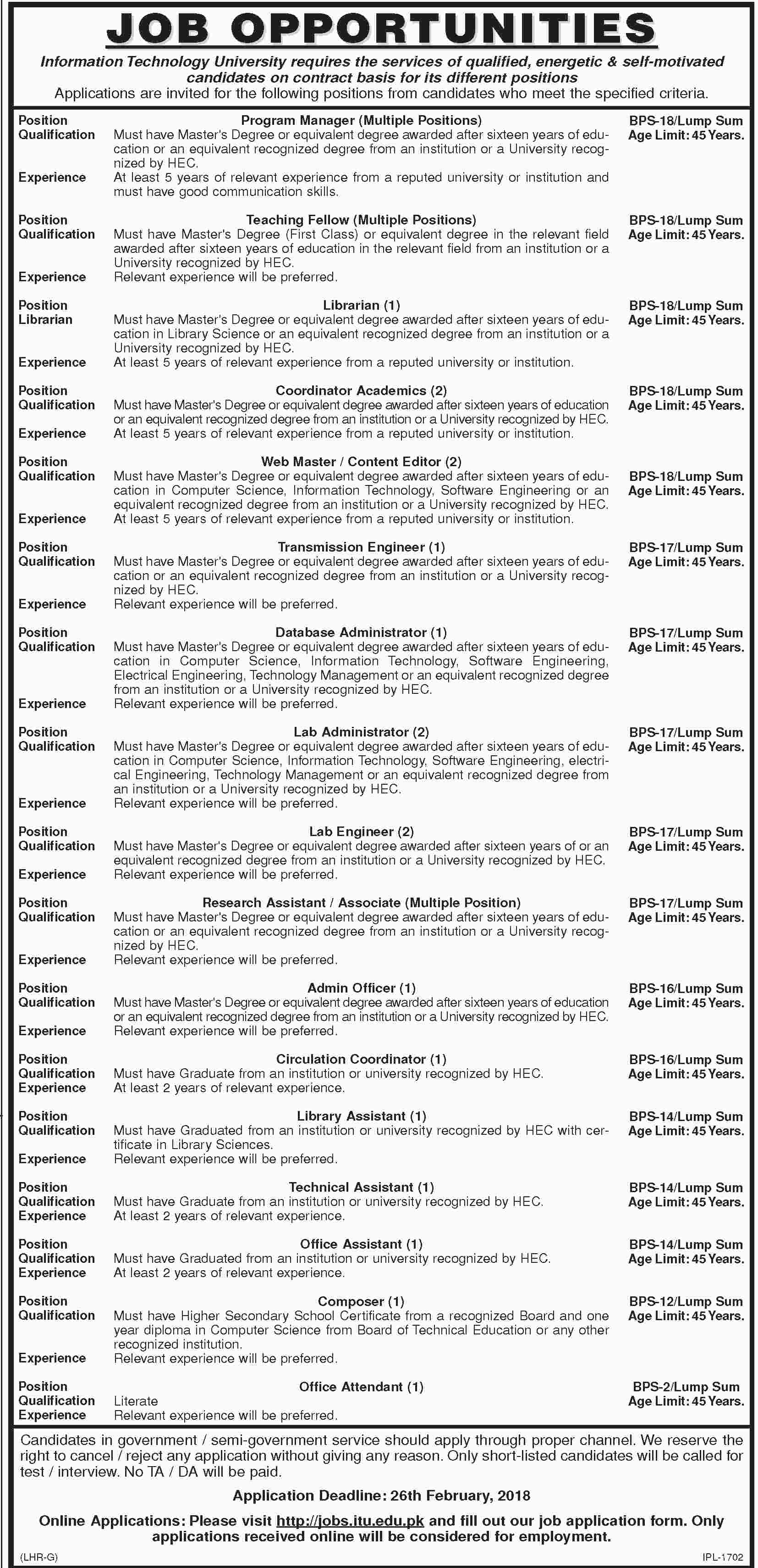 Jobs In Information Technology University 09 Feb 2018