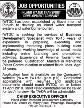 Jobs in Inland Water Transport Development Company 28 March 2018