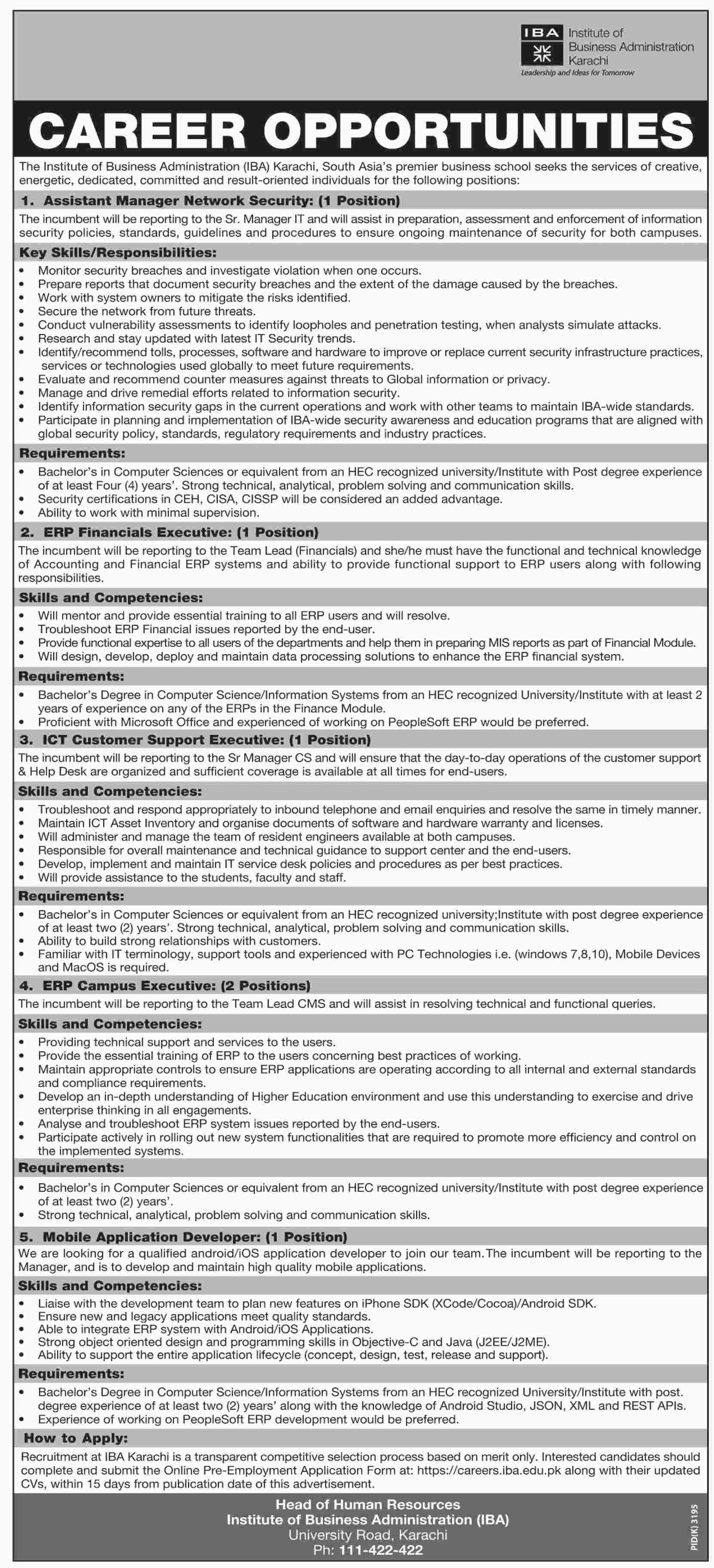 Jobs in Institute of Business Administration in Karachi 25 Feb 2018