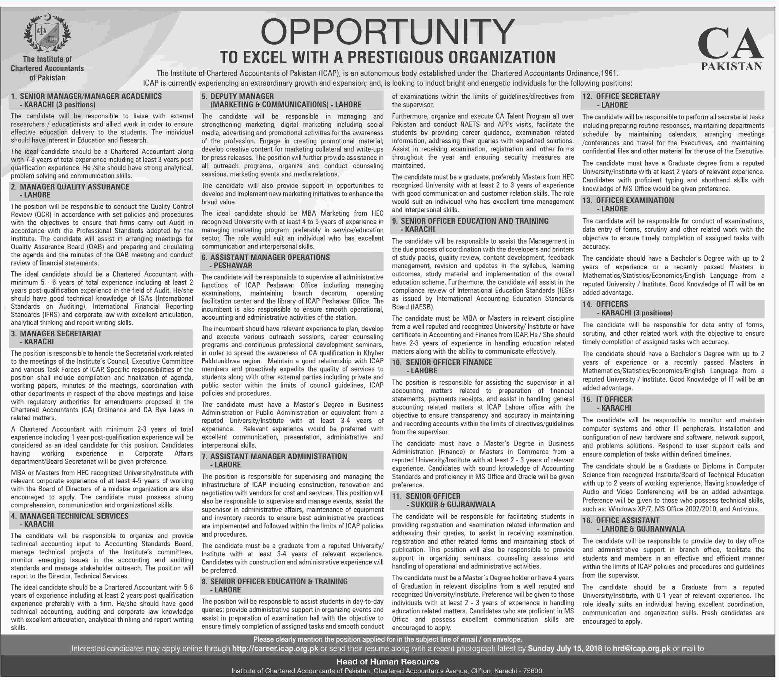 Jobs in Institute of Chartered Accountants of Pakistan 01 July 2018