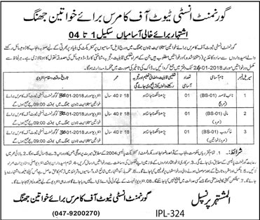 Jobs In Institute Of Commerce 09 Jan 2018