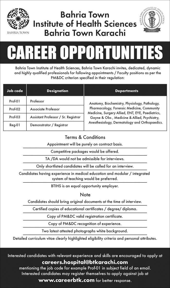 Jobs in Institute of Health Sciences Bahria Town Karachi 10 June 2018