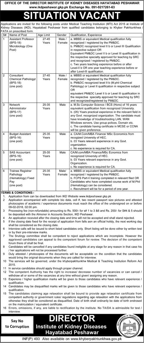 Jobs in Institute of Kidney Diseases in Peshawar 05 Feb 2018