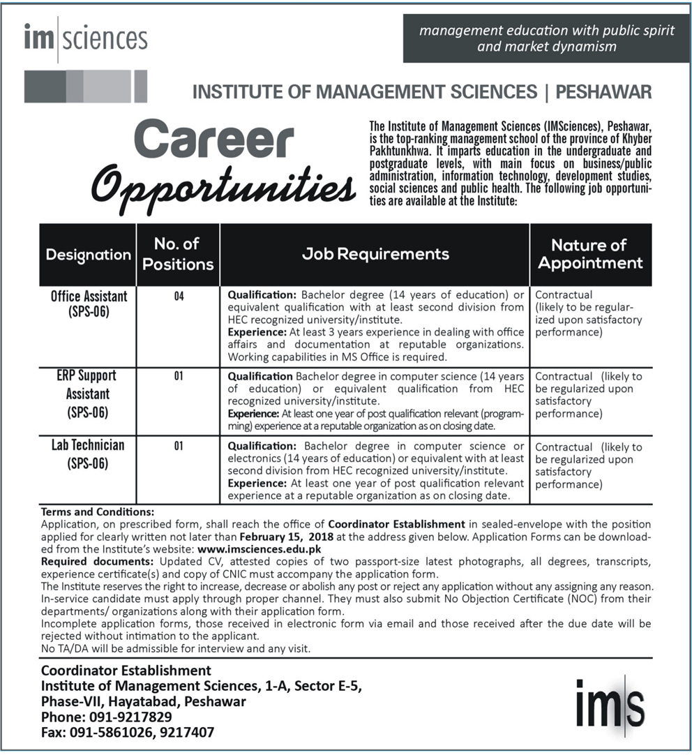 Jobs In Institute Of Management Science 29 Jan 2018
