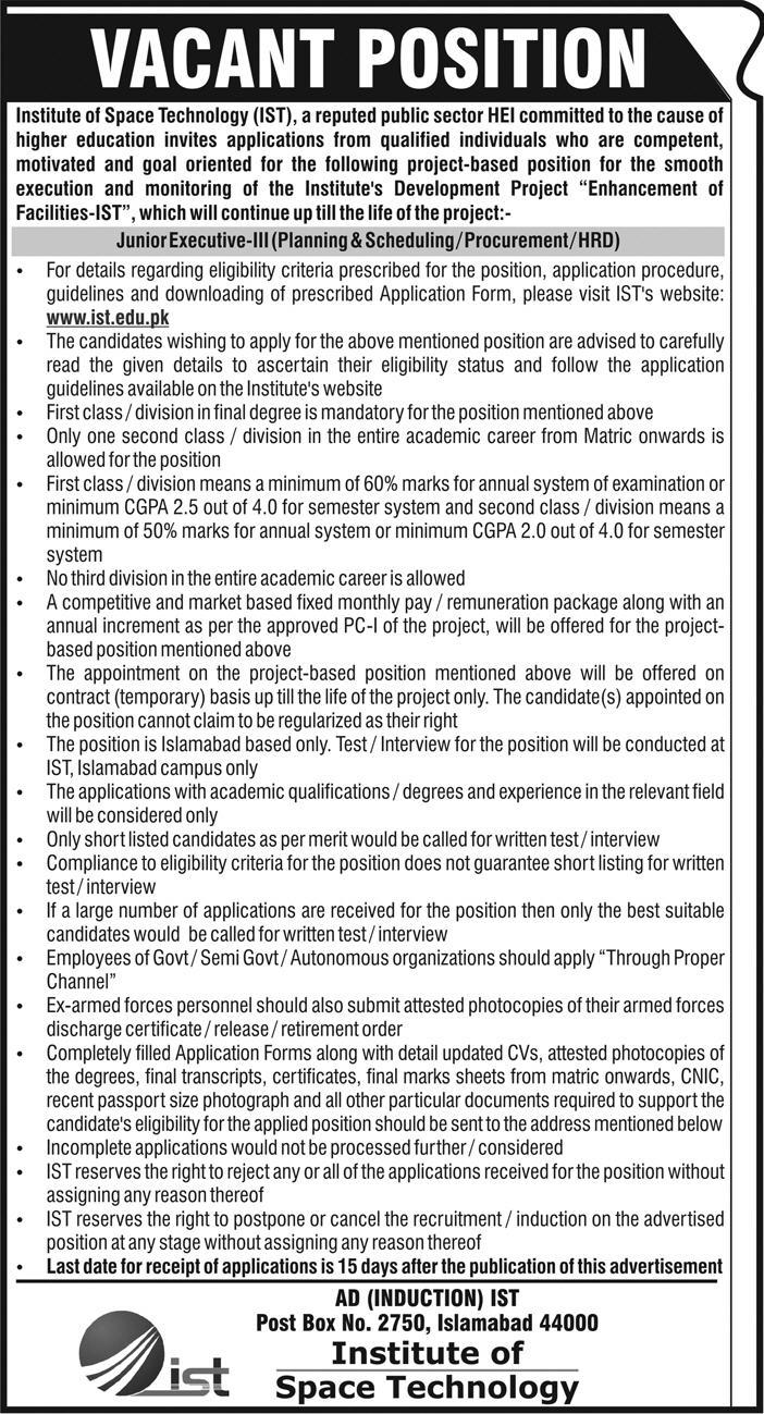 Jobs in Institute of Space Technology 01 July 2018