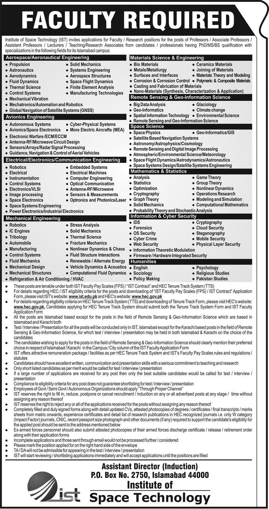 Jobs in Institute of Space Technology 06 May 2018