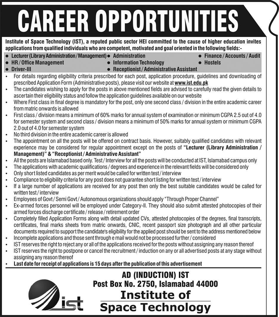 Jobs in Institute of Space Technology 11 March 2018