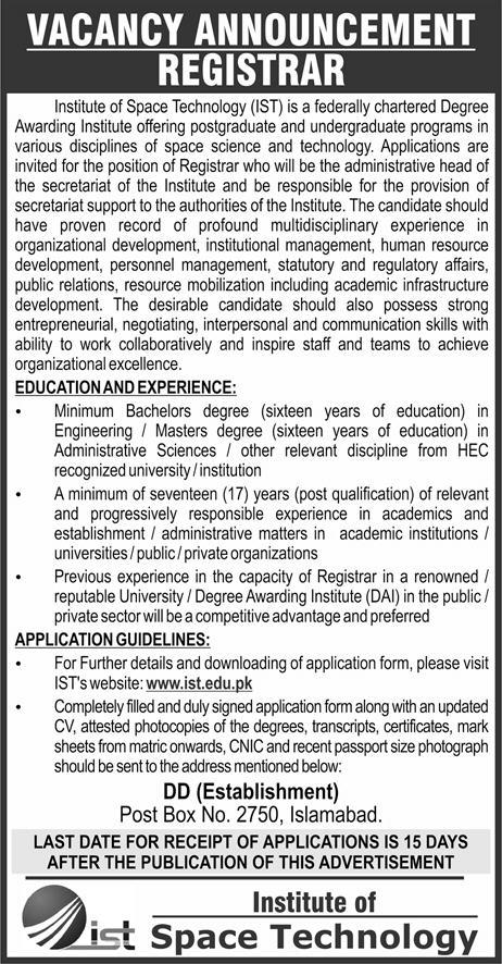 Jobs in Institute of Space Technology Islamabad 30 May 2018