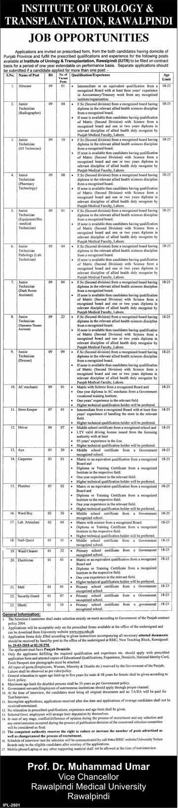 Jobs in Institute of Urology and Transplantation in Rawalpindi 03 March 2018