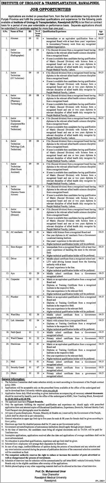 Jobs In Institute Of Urology & Transplantation Rawalpindi 03 Mar 2018