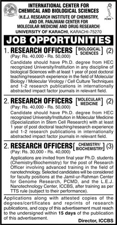Jobs In International Center For Chemical And Biological Sciences 23 Feb 2018