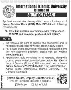 Jobs in International Islamic University in Islamabad 11 Feb 2018