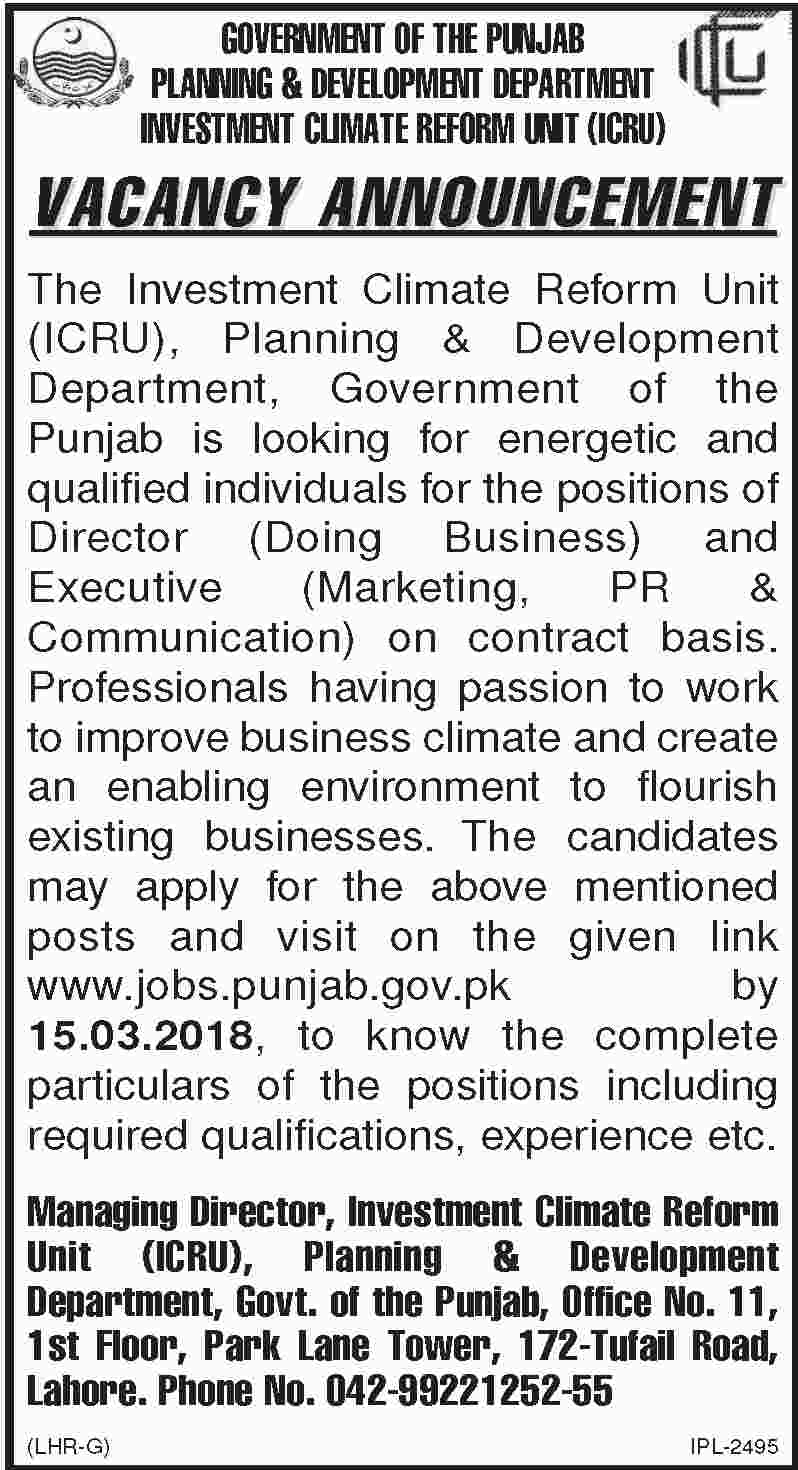 Jobs In Investment Climate Reform Unit 26 Feb 2018