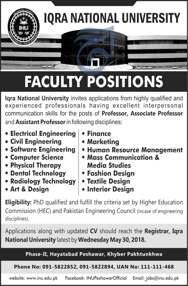 Jobs in Iqra National University 20 May 2018