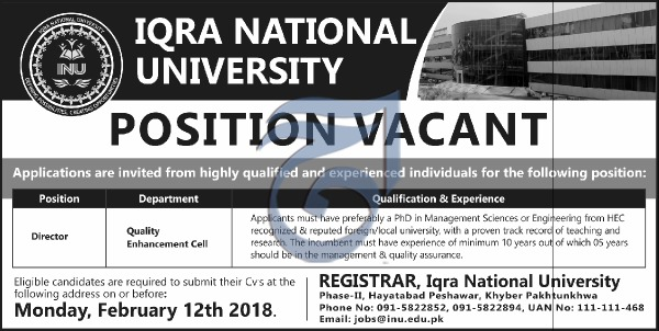 Jobs in Iqra National University Peshawar 04 Feb 2018