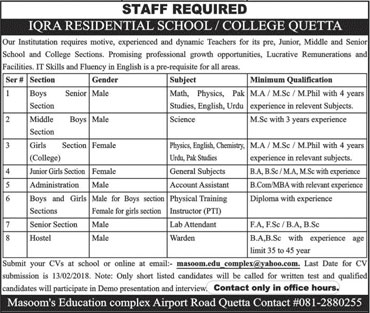 Jobs In Iqra Residential School & College 01 Feb 2018