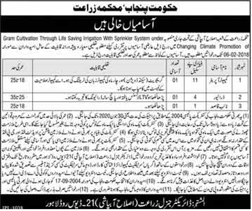 Jobs In Irrigation Department Govt Of Punjab 24 Jan 2018