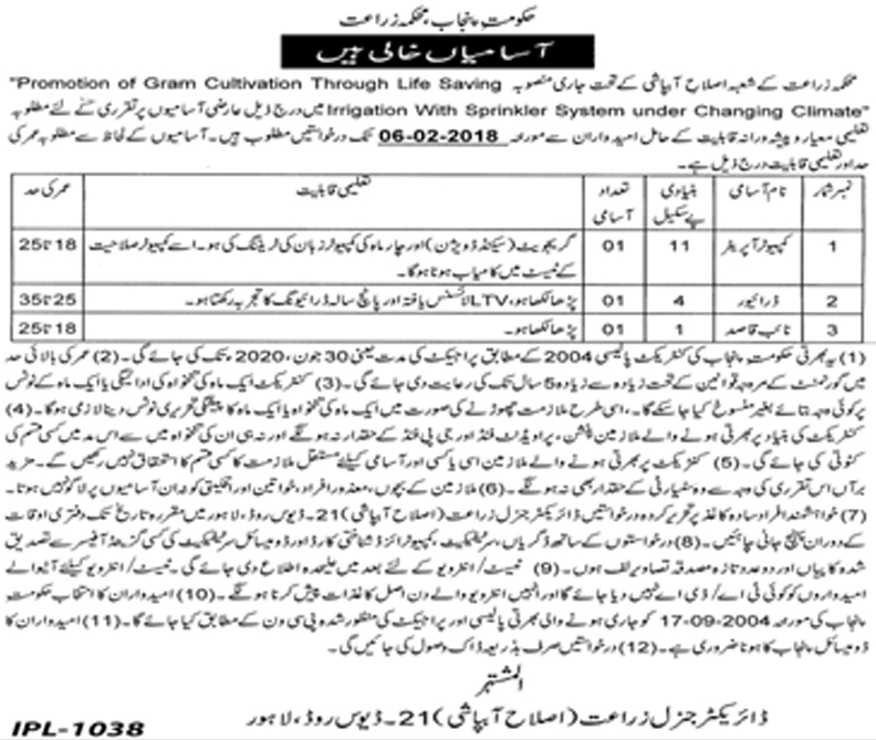 Jobs In Irrigation Department Govt Of Punjab 26 Jan 2018