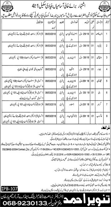 JObs In Irrigation Department Of Rahim Yar Khan 01 Feb 2018