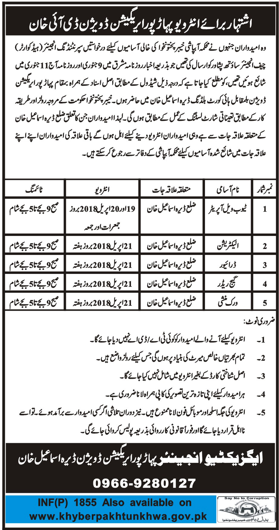 Jobs In Irrigation Division Dera Ismail Khan 14 Apr 2018