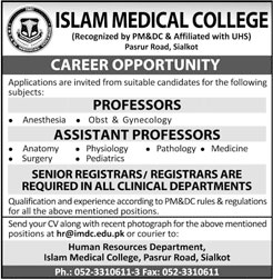 Jobs In Islam Medical College 24 Mar 2018