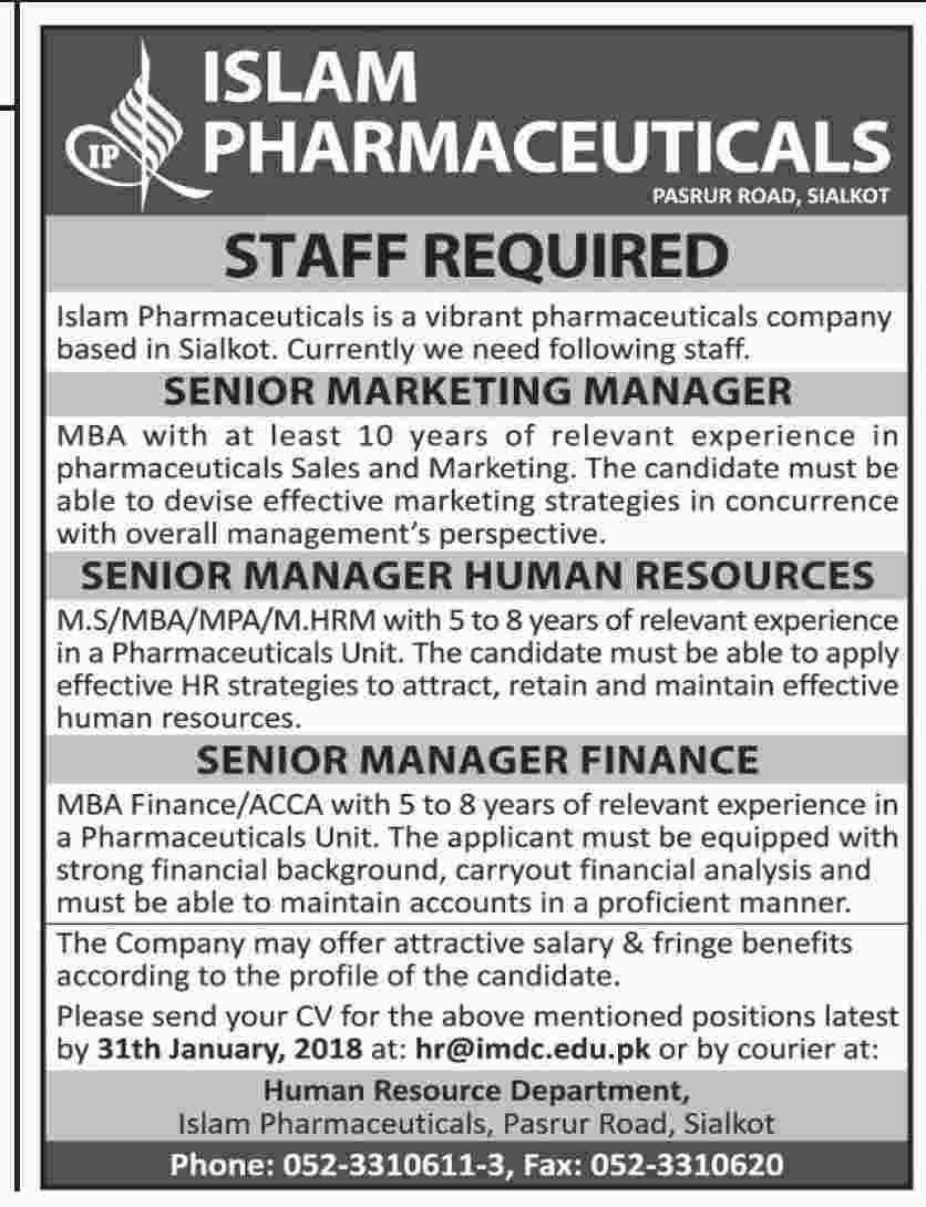 Jobs In Islam Pharmaceuticals 22 Jan 2018