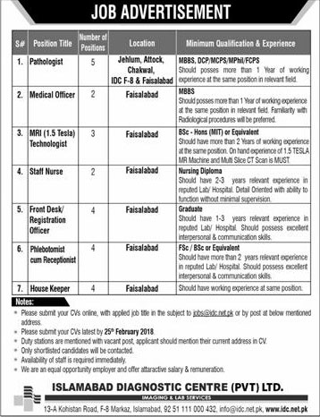 Jobs in Islamabad Diagnostic Centre Pvt Ltd 18 Feb 2018