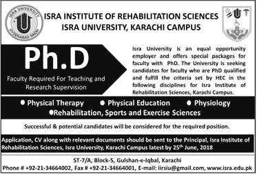 Jobs in Isra University 03 June 2018