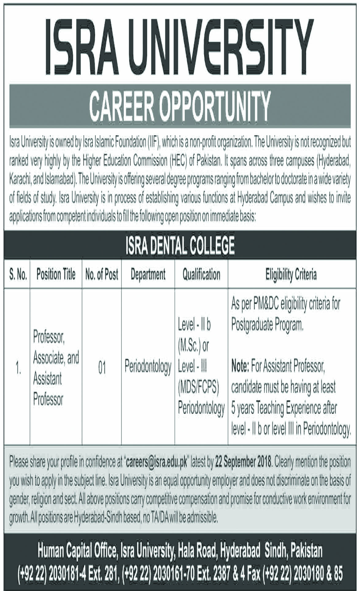Jobs In Isra University Hyderabad 10 Sep 2018