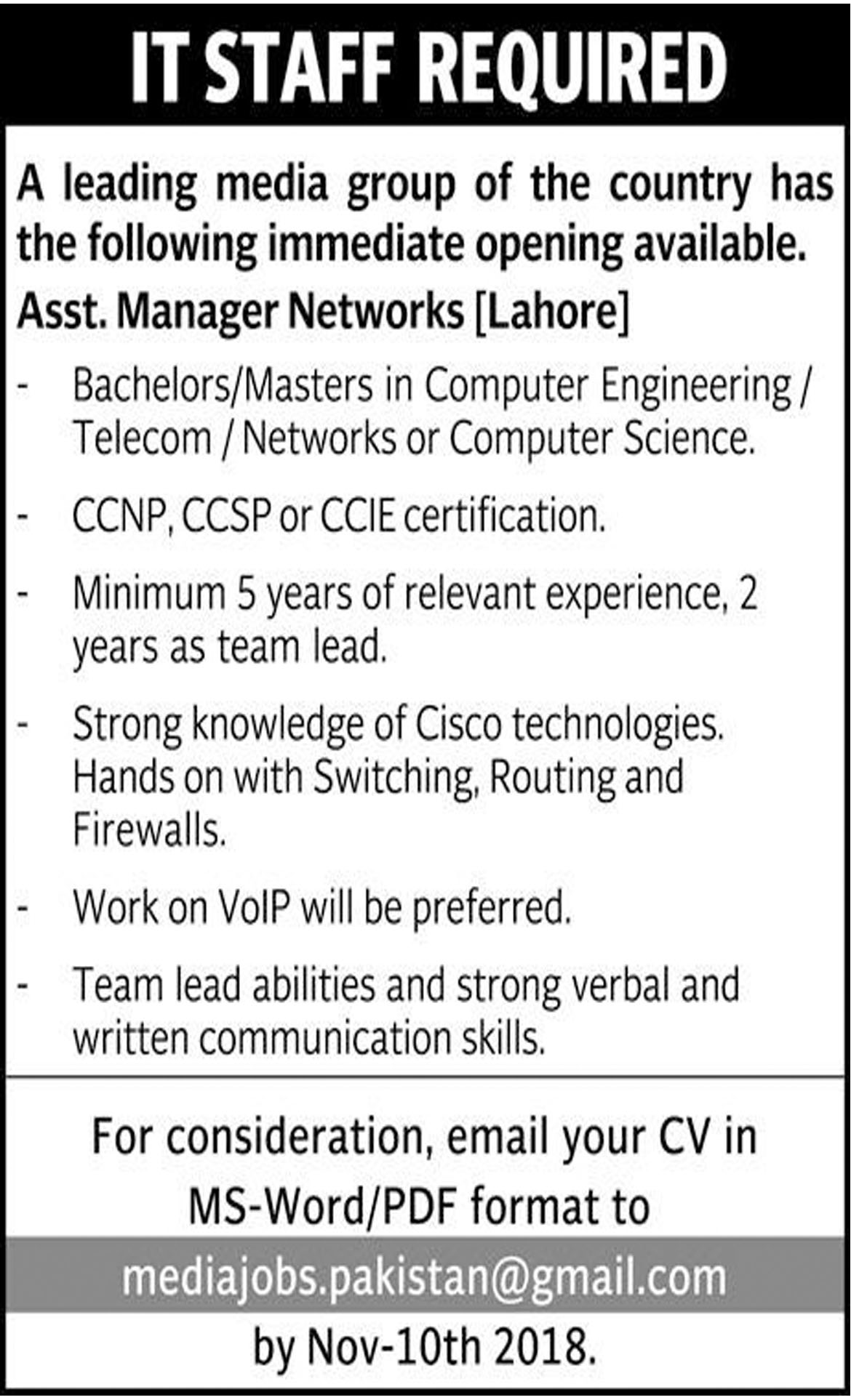 Jobs In IT Staff Required In Lahore 06 Nov 2018