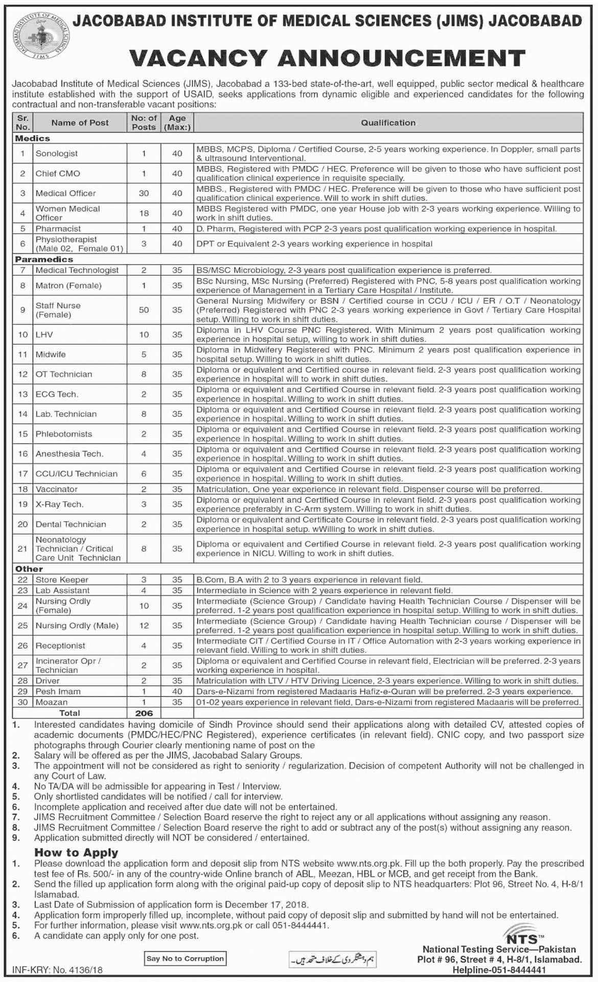Jobs In Jacobabad Institute Of Medical Sciences JIMS 03 Dec 2018