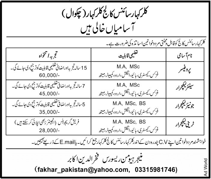 Jobs In Kalar Kahar Science College 14 Jan 2018