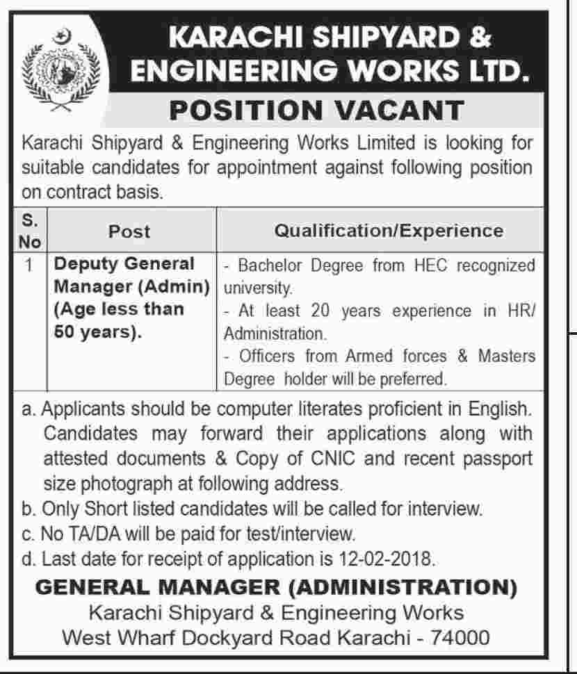 Jobs In Karachi Shipyard And Engineering Works Ltd 29 Jan 2018