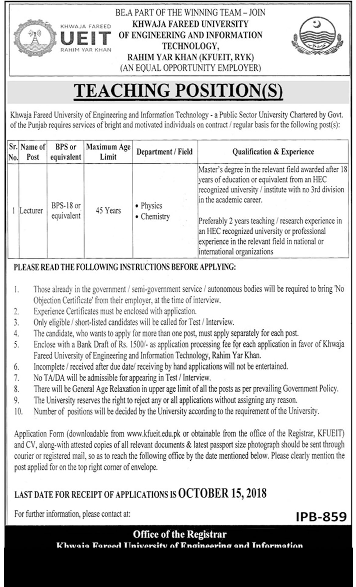Jobs In Khawaja Fareed University Of Engineering And Information Technology 1 Oct  2018