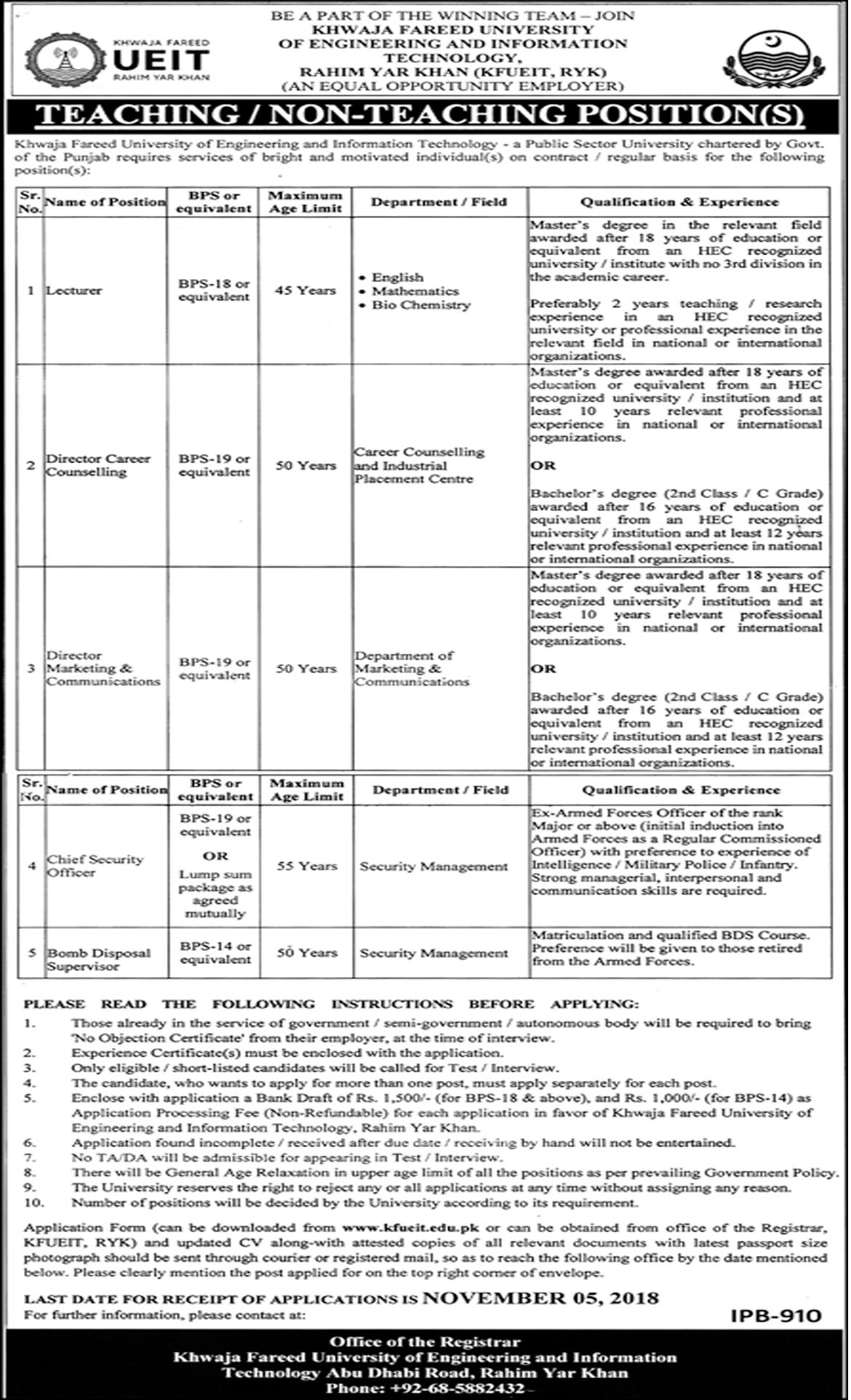 Jobs In Khawaja Fareed University Of Engineering And Information Technology 24 Oct 2018