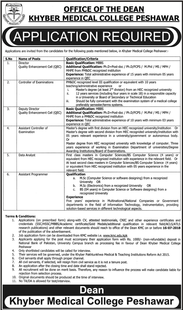 Jobs in Khyber Medical College Peshawar 01 July 2018