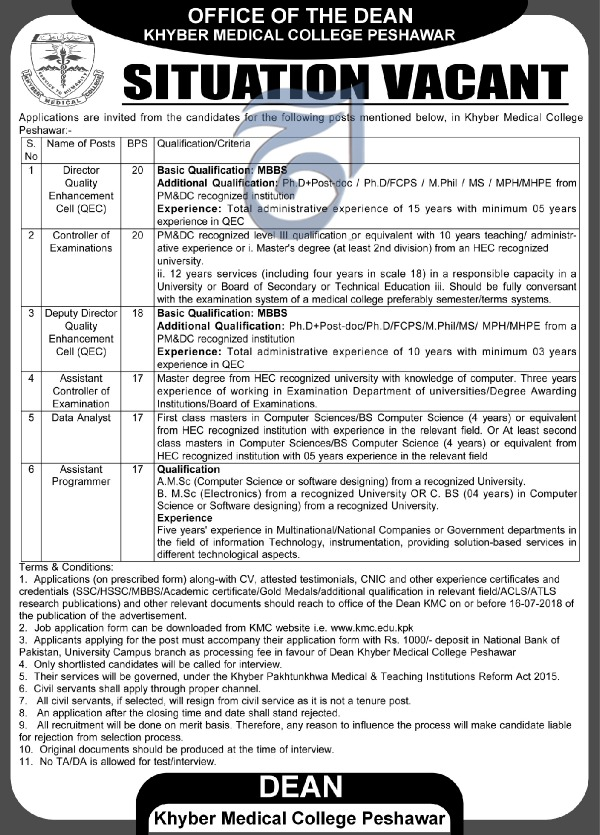 Jobs in Khyber Medical College Peshawar 30 June 2018